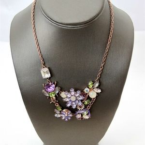 Betsey Johnson Violet Bees & Flower Necklace
